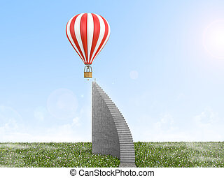 The path to the summit, concrete staircase leading to the balloon.3d illustration