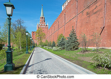 The path to the Trinity tower of Moscow Kremlin, Russia