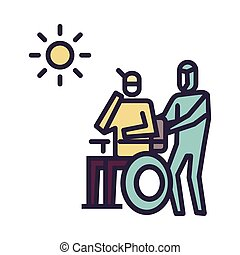 The patient bask in the sun Icon