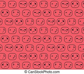 The pattern expression. Smilies. Emotions faces.