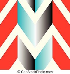 The pattern in which the red, gray and blue lines