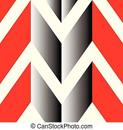 The pattern in which the red, gray and white lines