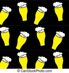 The pattern of beer glasses with yellow, light, tasty, intoxicating, craft beer, lager, thick, thick foam draining along the edges on a black background. Vector illustration.