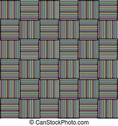 The pattern of colored squares.