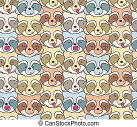 The pattern of funny raccoons