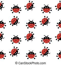 The pattern of ladybugs.