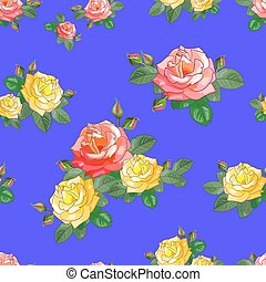 The pattern of Red and yellow Flowers on a Lilac Background