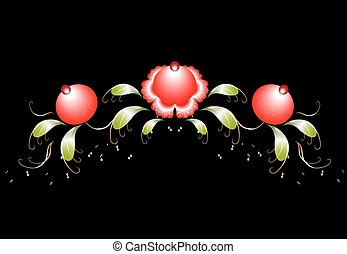 The pattern of red flowers and leaves on a black base. EPS10 vector illustration