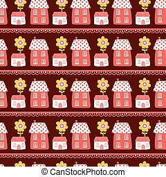 The pattern of the houses.