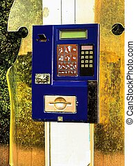 The payphone, old broken street blue metal case pay phone withou