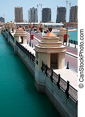 The Pearl. Doha, Qatar - A detail of the pearl in Doha,...