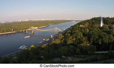 The Pedestrian Bridge in Kiev was built in 1957. The bridge is a light construction 400 m (1,312 ft) in length that connects Kiev to the park-area Trukhaniv Island. This is the only bridge constructed specifically for the pedestrian traffic over the Dnieper fairway, and for this reason it's formally...