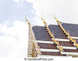 The pediment of the temple in Thailand, A Buddhist temple