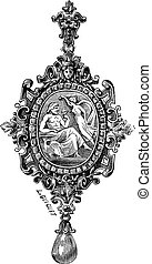 The pendant by Francois-Desire Froment vintage engraving -...