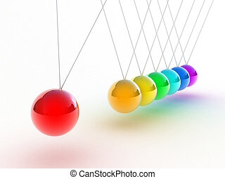 The pendulum - Illustration of the multicolored pendulum on...