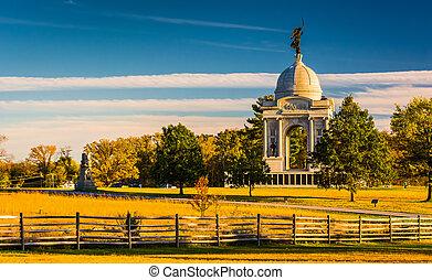 The Pennsylvania Monument, in Gettysburg, Pennsylvania. -...
