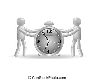 The people and clock on a white background