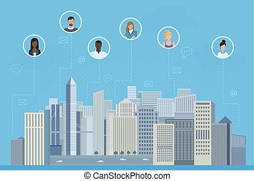 The people in circles in the city communicating vector illustration. Social media and social network concept.