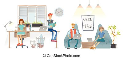 The people in the office or coworking center. Men and women in casual clothes work with paper documens and laptops and conduct business negotiations. Vector illustration.