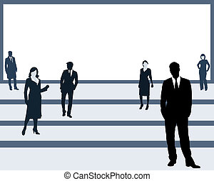 The people on a platform - Silhouettes of the men and women...