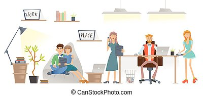 The people working in the office or coworking center. The boss is sitting at the table behind the laptop. Vector illustration, isolated on white.