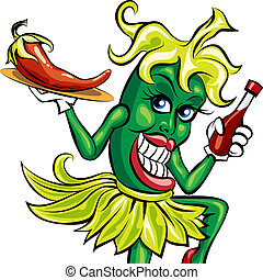 The pepper waitress - Humorous illustration of green pepper...