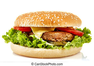 The perfect hamburger with cheese, bacon, pickles, tomato, onions and lettuce on white background.