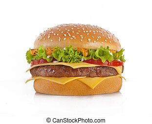 The perfect hamburger with cheese, tomato, onions and lettuce.