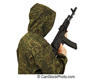 The person holds the AK-74 assault rifle