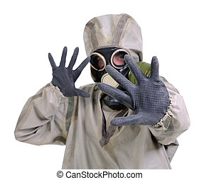 The person in gas mask