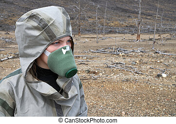 The person with respirator