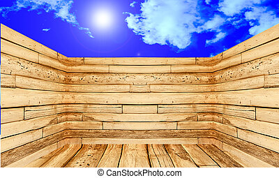The Perspective of wood on blue sky background
