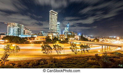 The Perth Skyline from Parliament House at Dusk. View of the...