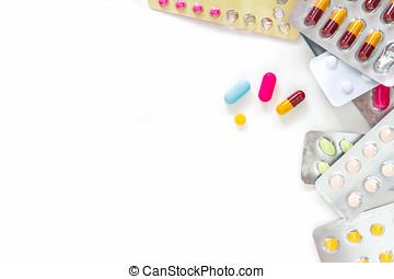 The pharmacy medicine medical on white background.