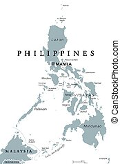 The Philippines political map with capital Manila. English...