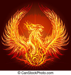 Illustration with burning phoenix drawn in heraldic style