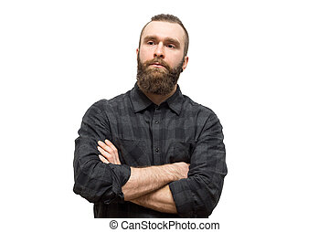 bearded man on a white background