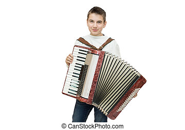 boy with accordion on a white background