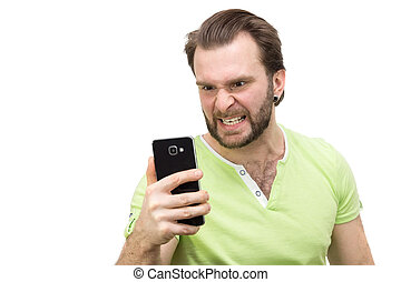 man with a phone on a white background