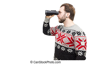 man with binoculars on a white background