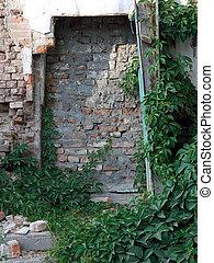 The photo of a brick door