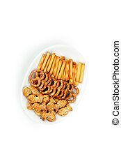 salty snacks - the photo shot of the salty snacks
