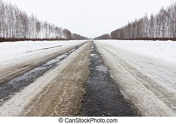 winter road in a field