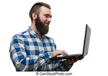 man with a laptop on a white background