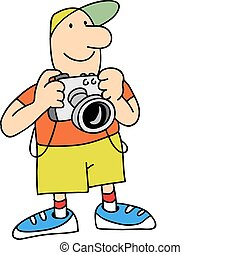 photographer - The photographer costs, smiles, has control...