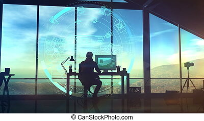 In his studio, sitting at a table, the photographer works with a holographic projection.