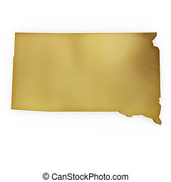 The photorealistic golden shape of South Dakota (series) - ...