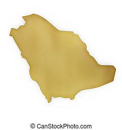 The photrealistic golden shape of Saudi Arabia (series) -...