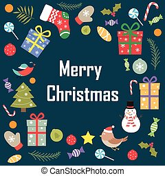 The phrase of merry Christmas on a blue background with decorati
