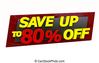 Save up - The phrase Save up to % on a white background